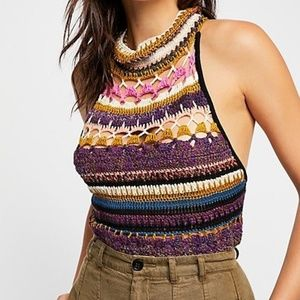 Free People Crochet High-Neck Top